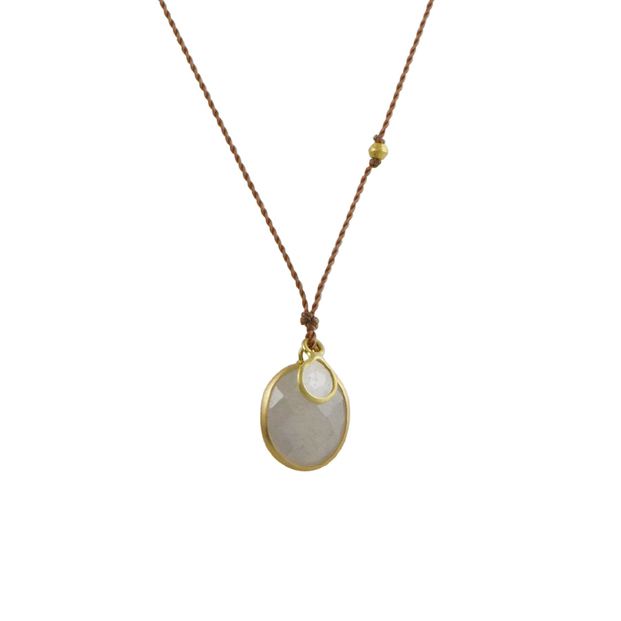 Margaret Solow - Natural Sapphire With Diamond Slice Drop Necklace