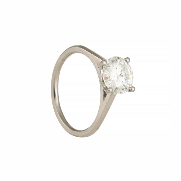 Tura Sugden - Classic Four-Prong Solitaire With Moissanite in 18K Palladium White Gold