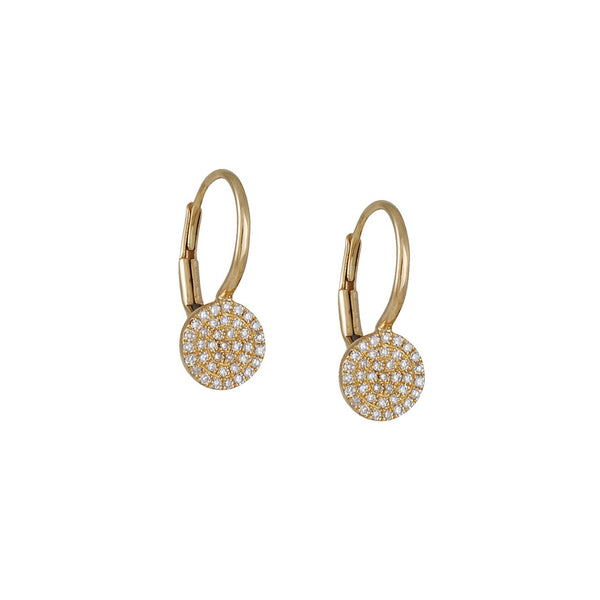 CP Collection- Pave Diamond Drop Earrings in Yellow Gold