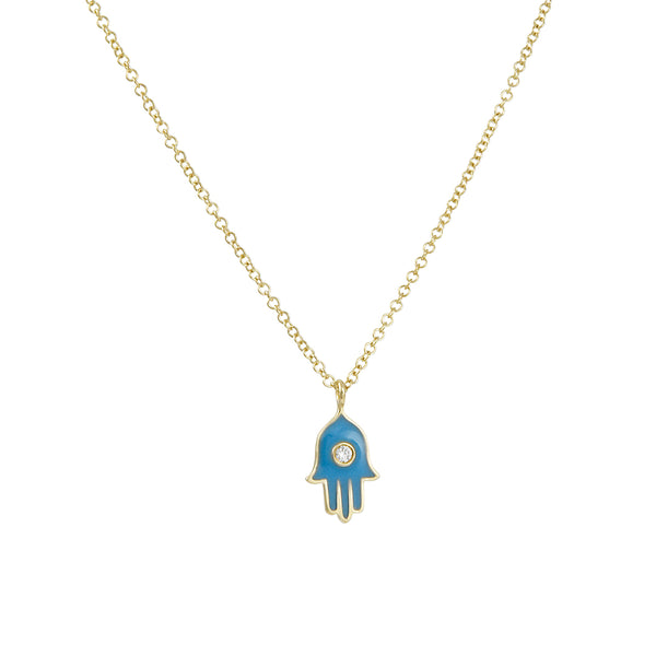 Cp Collection - Hamsa with Turquoise Enamel Necklace