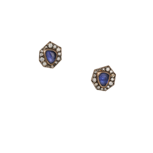 Annie Fensterstock - Sapphire Halo Stud Earrings