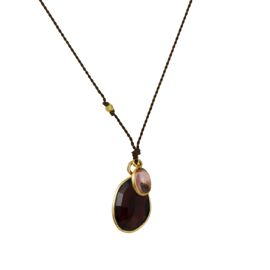 Margaret Solow - Bezeled Raw Pink Sapphire With Marquise-Cut Red Garnet Drop Necklace