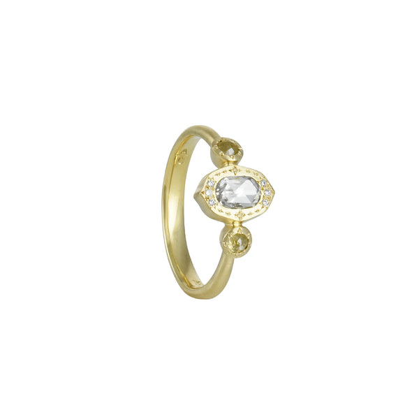 Adel Chefridi - Oval Rosecut Three Stone Diamond Ring