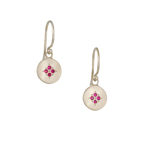 Adel Chefridi - Four Star Wave Earrings in Ruby