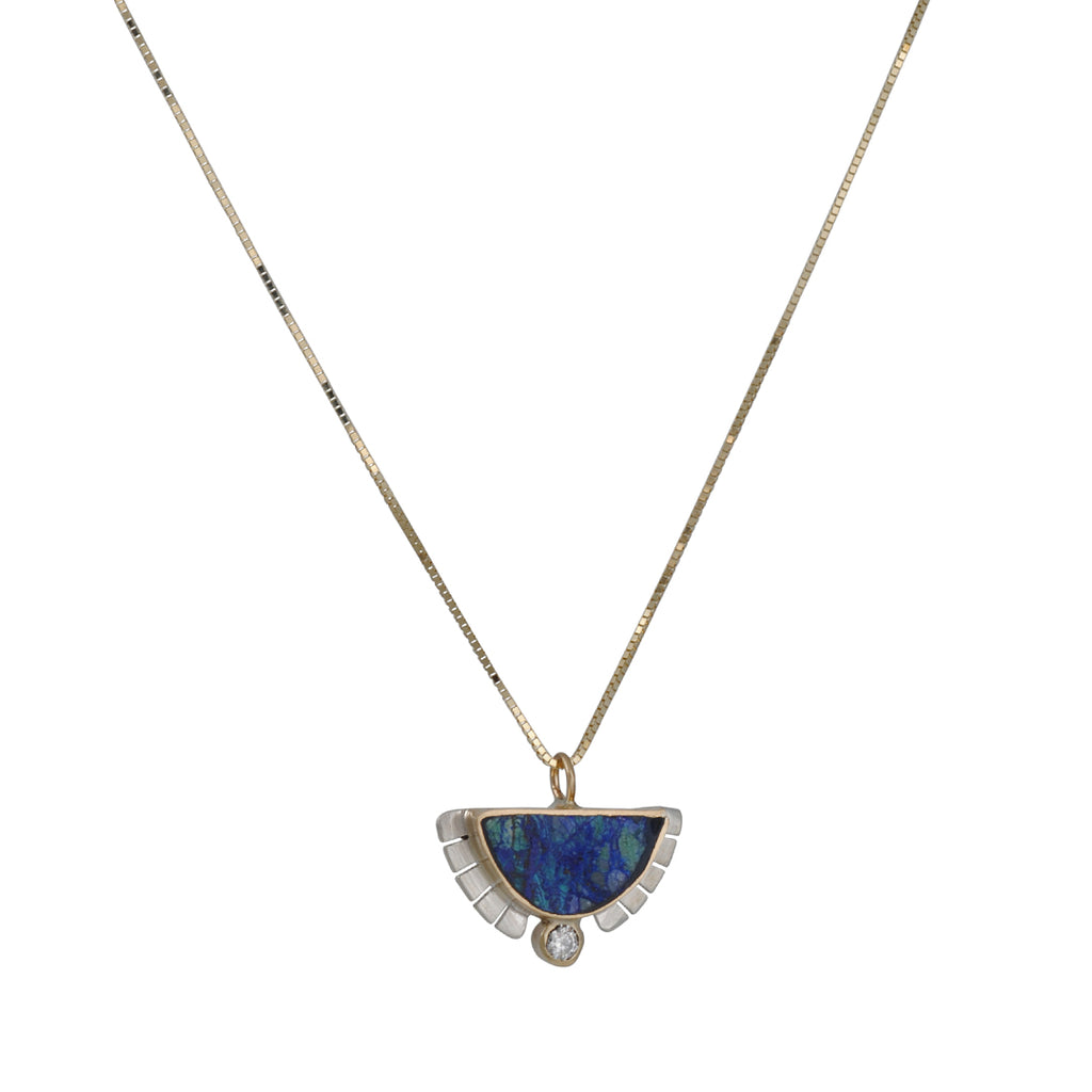 Young in the Mountains - Azurite and Diamond Necklace