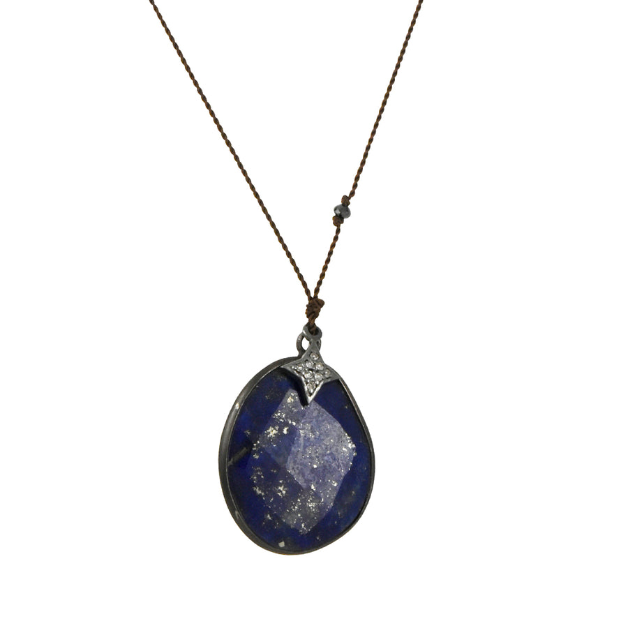 Margaret Solow - Lapis Pendant Necklace With Diamond Pave Star