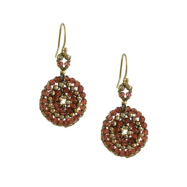 Danielle Welmond - Woven Coin Earrings With Red Garnet and Pyrite