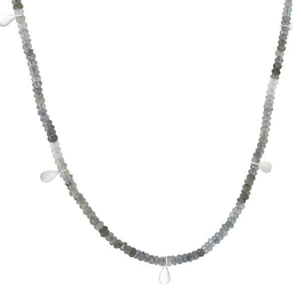 Philippa Roberts - Moss Aqua Necklace with Five Drops