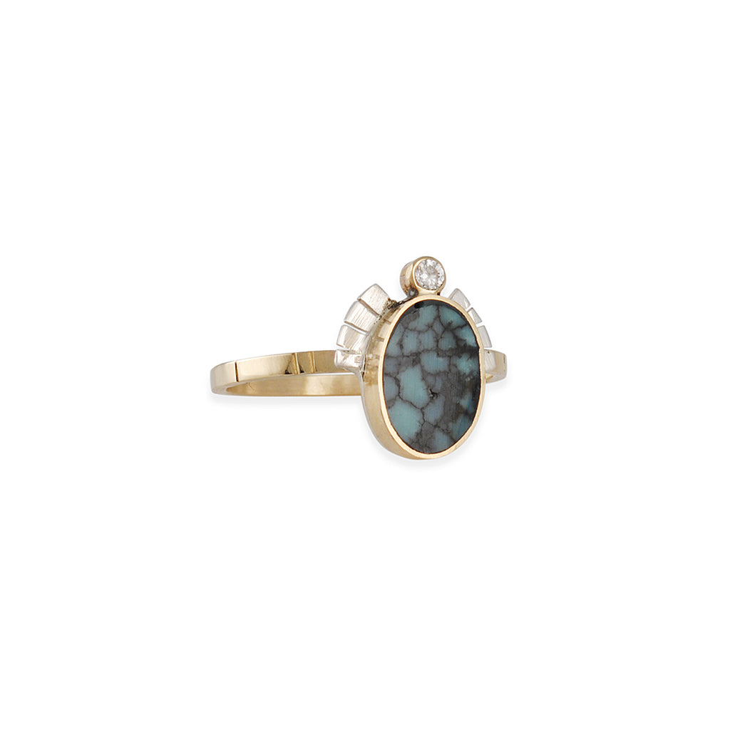 Young in the Mountains - Chrysocolla and Diamond Selene Ring