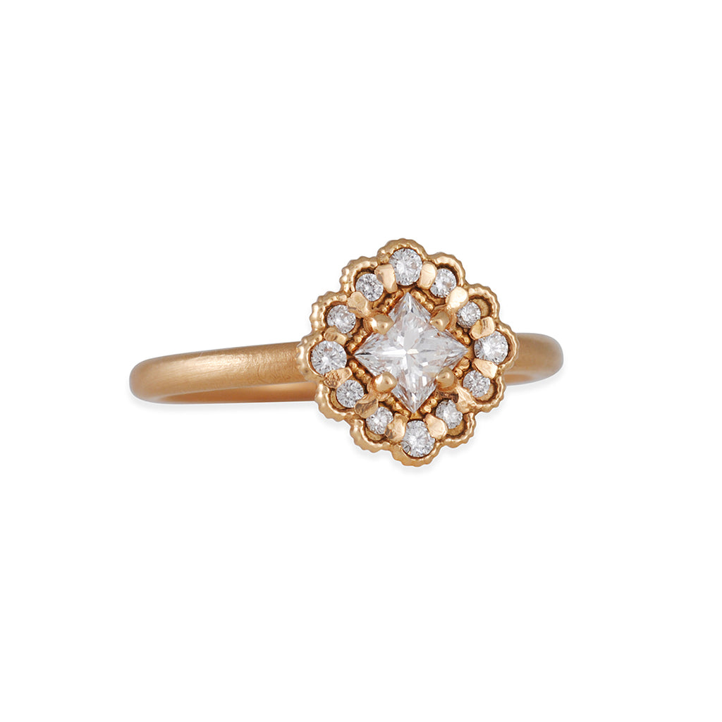 Megan Thorne - Square Halo Mosaic Ring in Rose Gold
