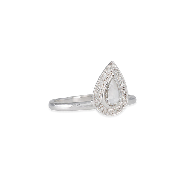 MISA Vertical Pear Diamond Halo Ring R92W-WHI 14KW 6 DIA