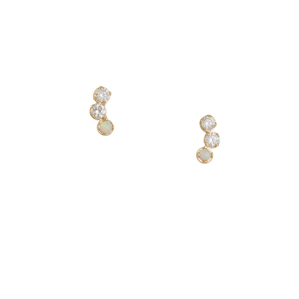 Gjenmi - Opal and Diamonds Studs