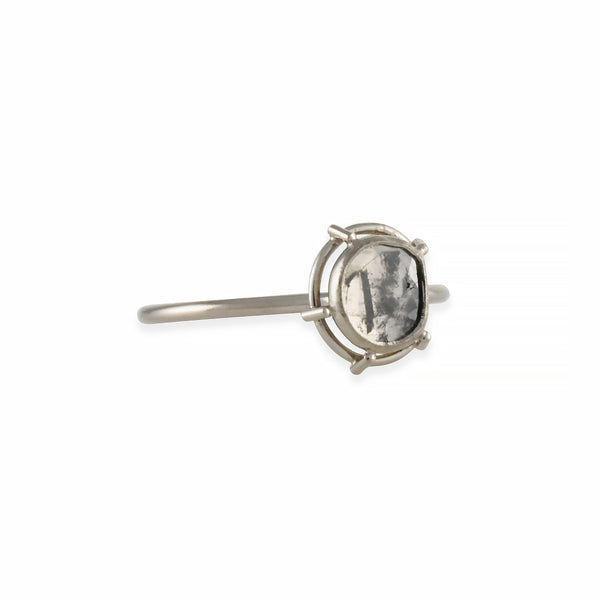 Tura Sugden - One of a Kind Diamond Slice Solitaire in 18K White Gold