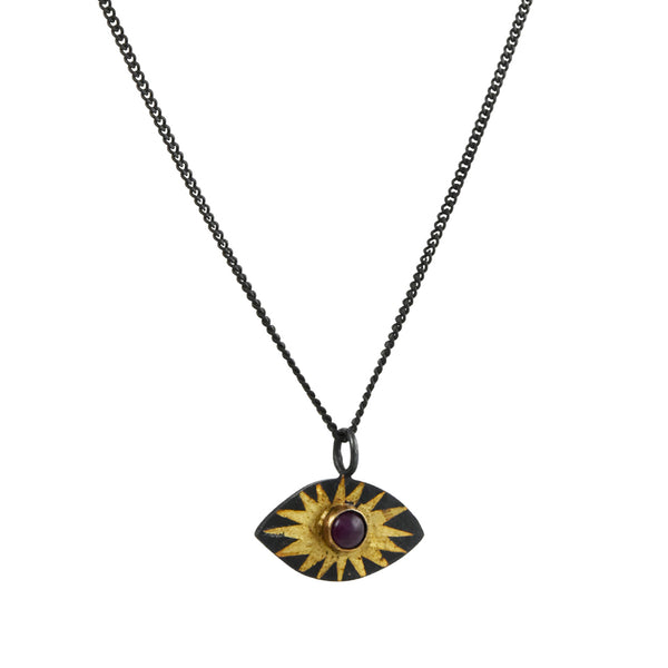 Acanthus - Ruby Evil Eye Pendant Necklace
