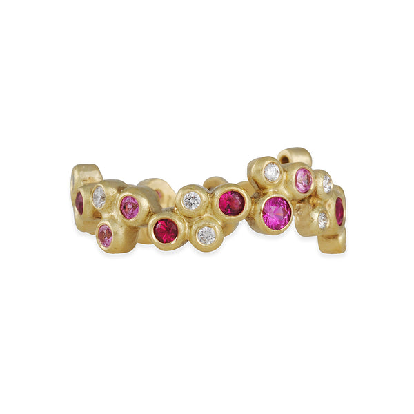 Annie Fensterstock- Contella Eternity Bubble Band With Rubies, Sapphires and Diamonds