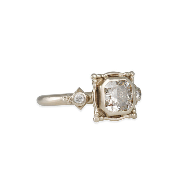 Megan Thorne - High Head Picture Frame Ring with Radiant Cut x Diamond Foundry