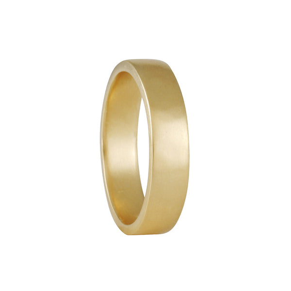 Black Barc - 5mm Squared Wedding band in 14K Yellow Gold