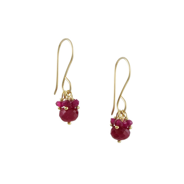 Debbie Fisher - Ruby Cluster Drop Earrings