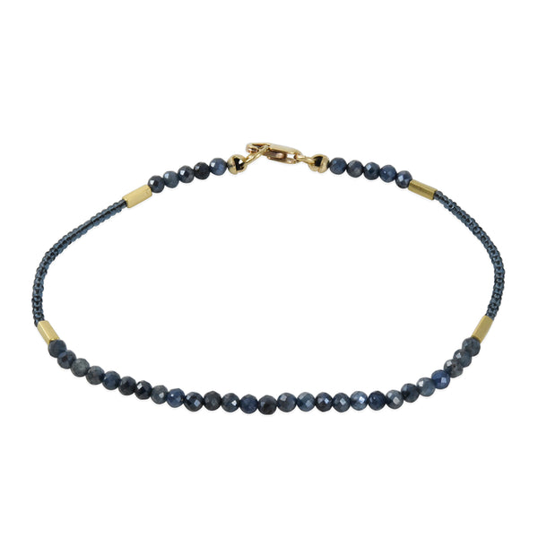 Debbie Fisher - Faceted Mystic Blue Sapphire Beaded Bracelet