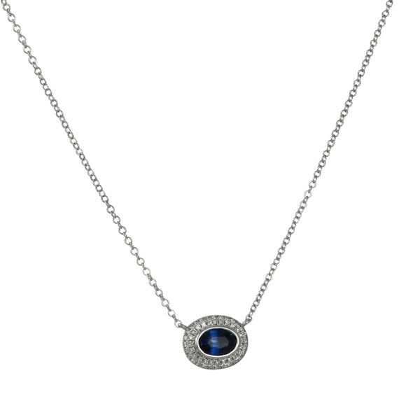 Cp Collection - Oval Sapphire With Pave Diamond Halo Necklace in 14K Gold