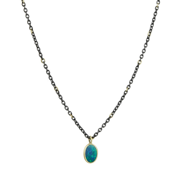 Kothari - Small Boulder Opal Necklace on Mixed Metal Chain