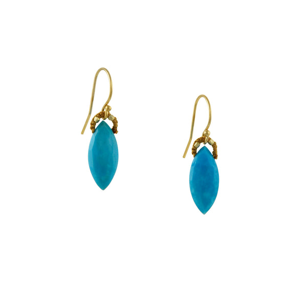 Danielle Welmond - Marquise-Cut Turquoise Drop Earrings With Crocheted Silk Bales