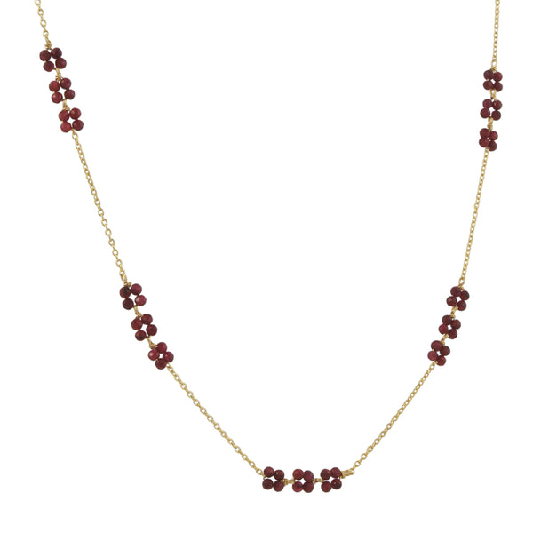Christina Stankard - Triple Blossoms Layering Necklace With Rubies