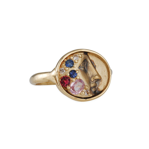 Atelier Narcé - Gold of Memories Ring with Rosecut Sapphires