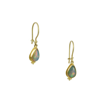 Steven Battelle - Teardrop Opal Earrings with Granulated Finials