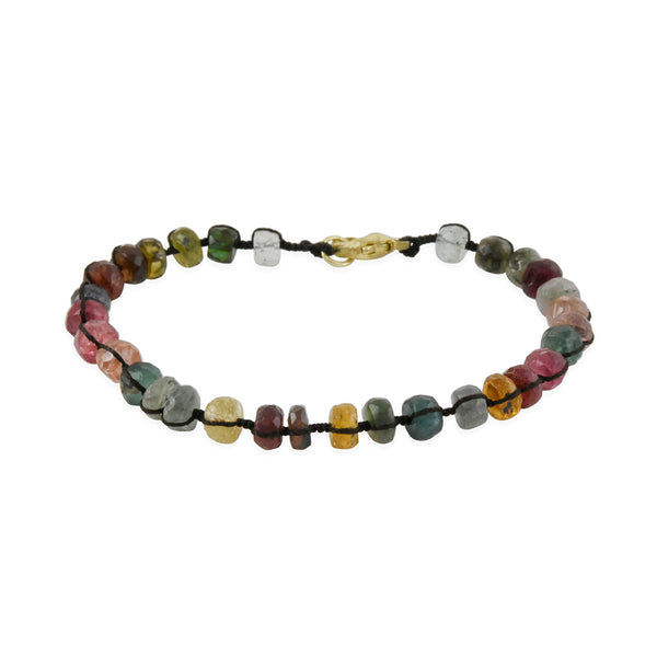 Danielle Welmond - Woven Silk Bracelet With Multi-Colored Tourmaline