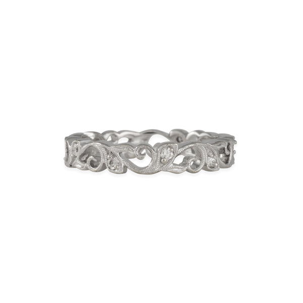 SALE - Diamond Vine Eternity Band in 18K White Gold