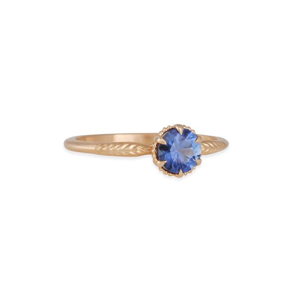 Megan Thorne - Evergreen Solitaire With a Montana Blue Sapphire in Rose Gold
