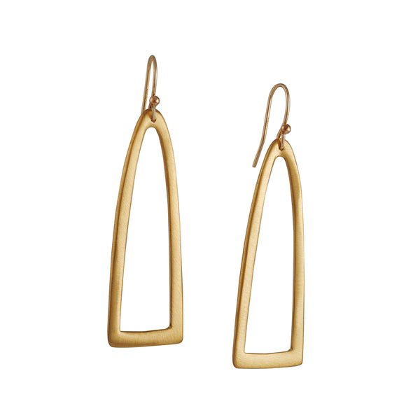 Phillipa Roberts - Long Half Oval Earrings in Gold Vermeil