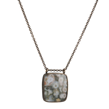 SALE - Long Square Jasper Necklace in Oxidized Sterling Silver