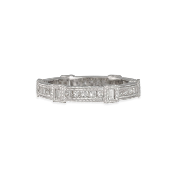 SALE - Art Deco Eternity Band in 18K White Gold