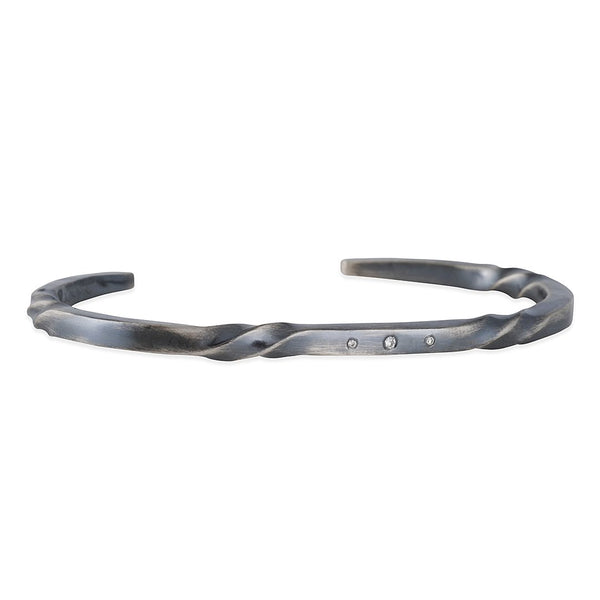 Sarah McGuire - Diamond Bias Twist Cuff in Oxidized Sterling Silver