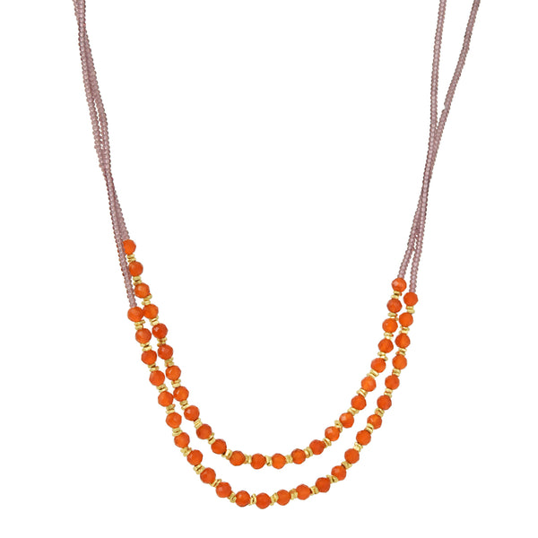 Debbie Fisher - Carnelian and Gold Vermeil Beaded Layering Necklace
