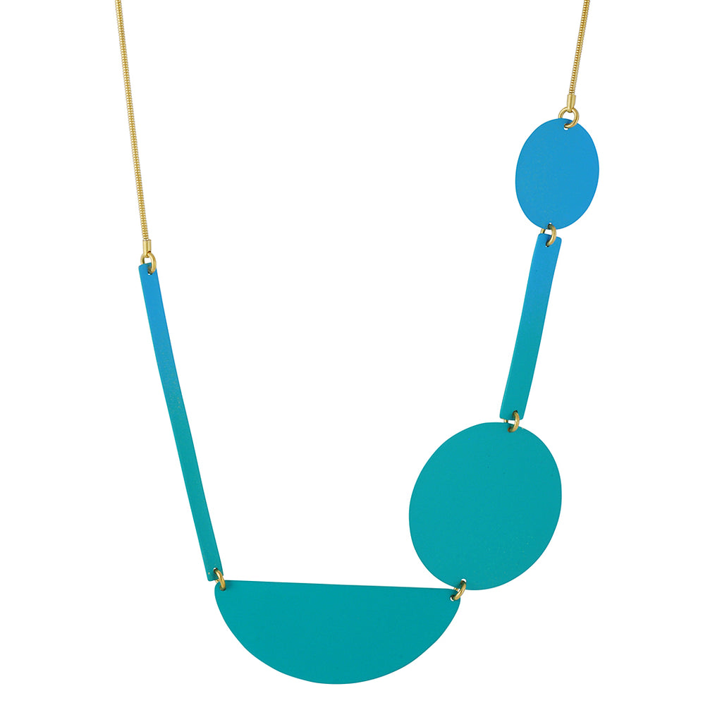Sibila - Simple Shapes Necklace in Ocean Blue Mix