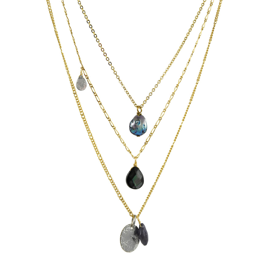 A. V. Max - 3 in 1 Necklace With Iolite, Labradorite and Pearl