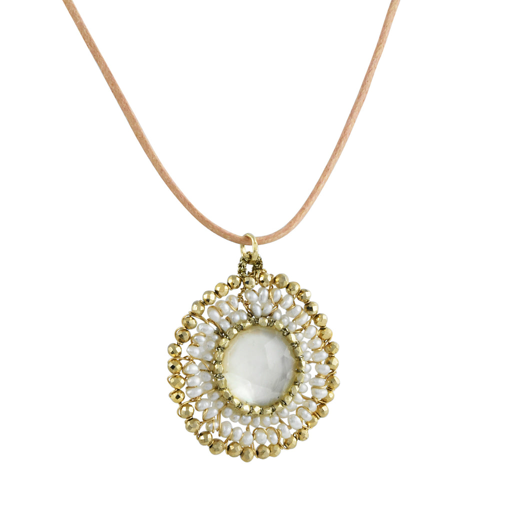 Danielle Welmond - Pearl and Pyrite Woven Halo Pendant Necklace on Leather Cord