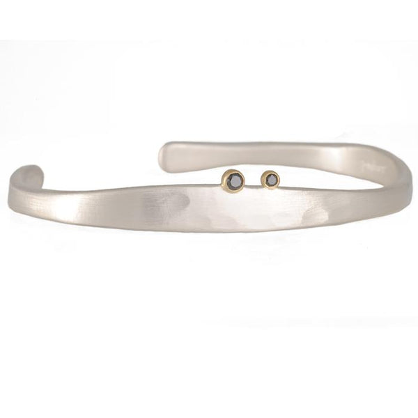 Sarah McGuire Nile Cuff in Sterling Silver with Black Diamonds