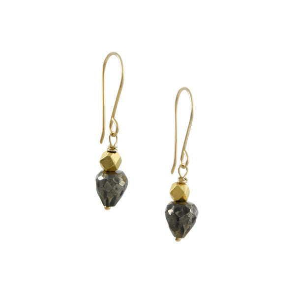 Debbie Fisher - Gold Vermeil and Pyrite Drop Earrings