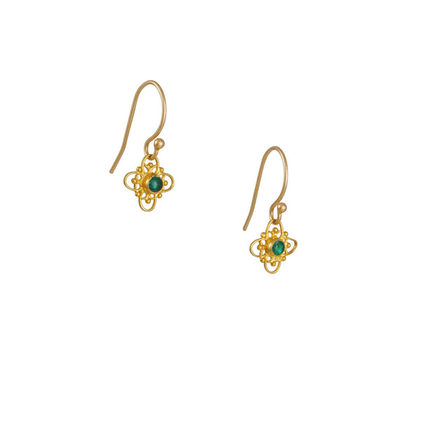 Margaret Solow - Filigree Earrings with Emeralds