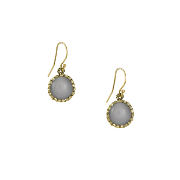 Danielle Welmond - Crocheted Cage Drop Earrings With Smooth Lavender Chalcedony