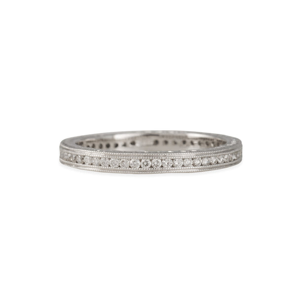 SALE - Channel Set Eternity Band with Milgrain rails and Engraving in 18K White Gold