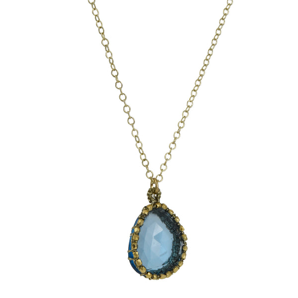 Danielle Welmond -  Hand-Crocheted Cage Pendant Necklace With Blue Topaz