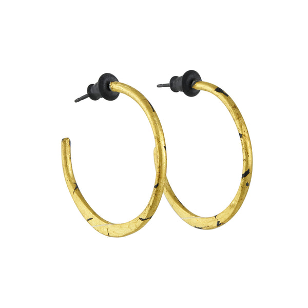 Acanthus - All Gold Hoop Earrings With 24K Gold Guilding