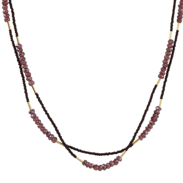 Debbie Fisher - Mystic Garnet Double Strand Necklace