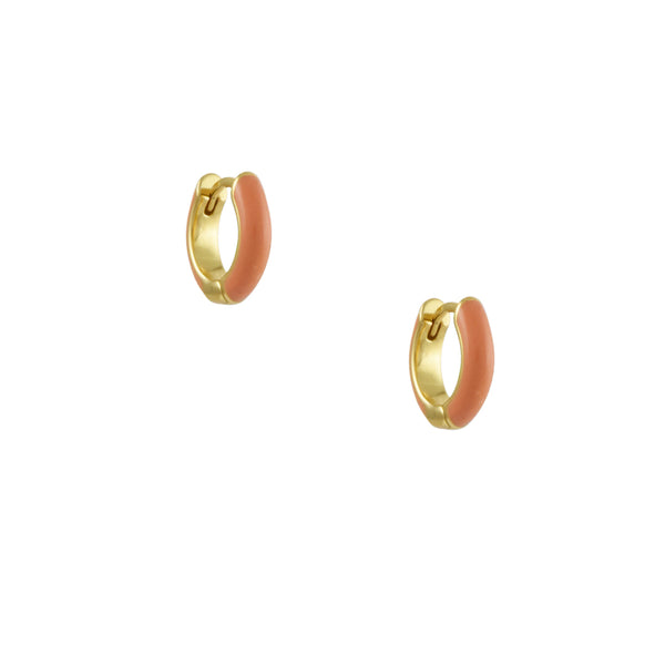 Kris Nations - Pink Enameled Huggie Hoop Earrings
