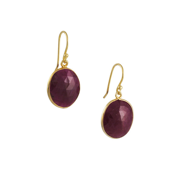 Sarah Richardson - Simple Ruby Earrings in Gold Vermeil
